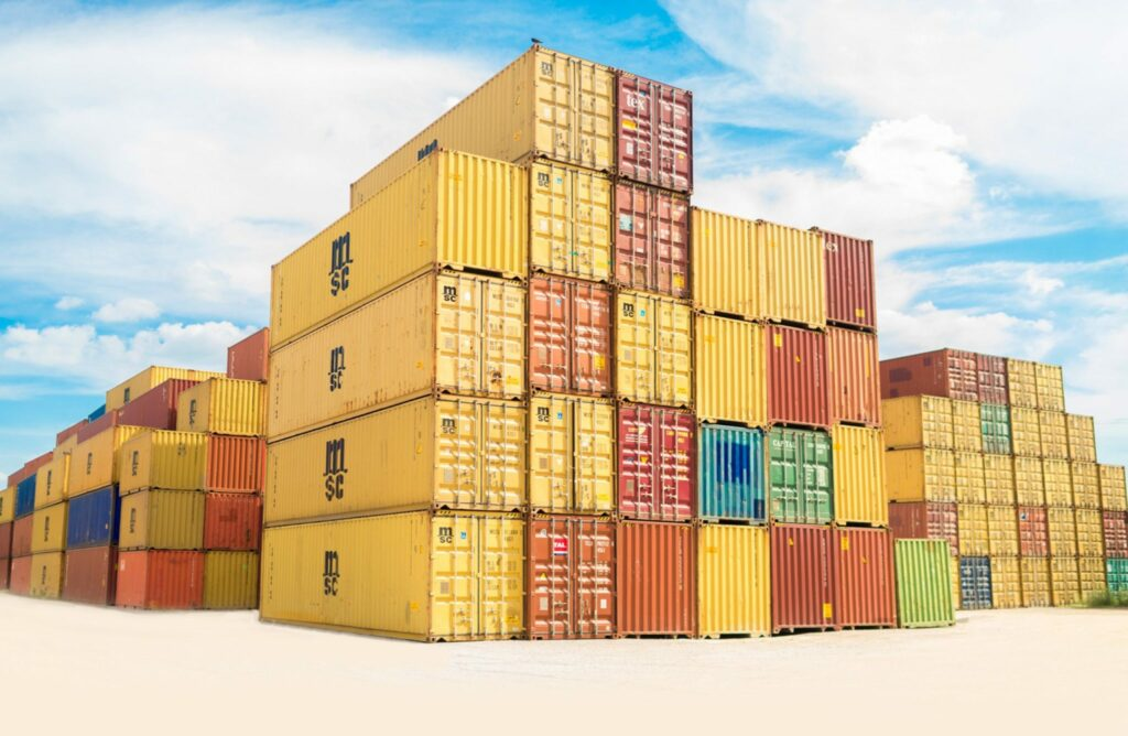 containers waiting at port to be shipped to Argentina, Uruguay and Paraguay for trade